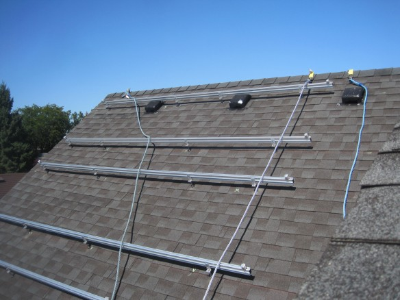 Photovoltaic mounting system being installed in Windsor Ontario Canada