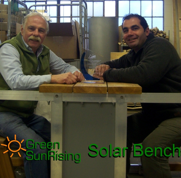 "First prize for Green Sun Rising's Solar Bench: Mechanical Designer Patrick Marion and Electric Designer Hassan Beydoun present their award for ""Experimental Development – New Product"". The prize was awarded as part of the Innovation Challenge Competition 2012."