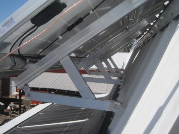 Picture of solar mounting system in Niagara Falls: Custom design for two additional panels added to the existing mounting system structure.